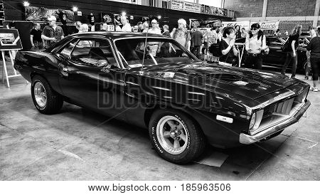 Paaren Im Glien, Germany - May 19: Pony Car Plymouth Barracuda, (black And White),