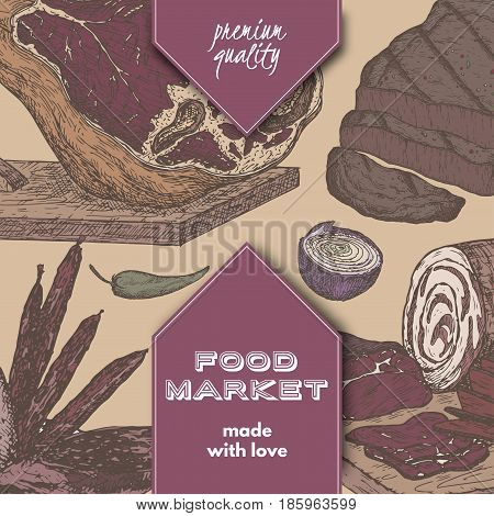 Color food market template with meat delicasies based on hand drawn sketches of cold meats, sausages, jamon. Great for market, restaurant, grill cafe, food label design.