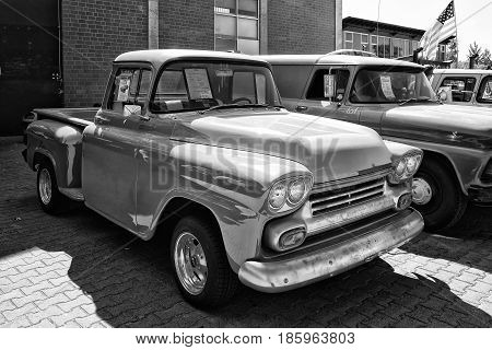 Paaren Im Glien, Germany - May 19: Detail Of The Full-size Pickup Truck Chevrolet Apache (1958), Bla