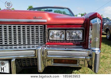 Paaren Im Glien, Germany - May 19: Head Lamp Full-size Personal Luxury Car Cadillac Eldorado (eighth