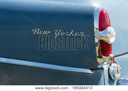 Paaren Im Glien, Germany - May 19: The Rear Brake Lights Car Chrysler New Yorker (1951),