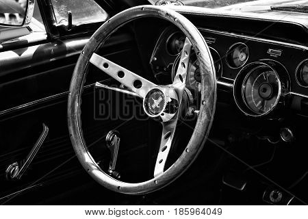 Paaren Im Glien, Germany - May 19: Cab Sports Car Ford Mustang Convertible (1967), Black And White,