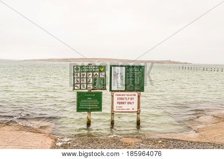 LANGEBAAN SOUTH AFRICA - MARCH 31 2017: A boat launching site at Langebaan on the Atlantic Coast of the Western Cape Province
