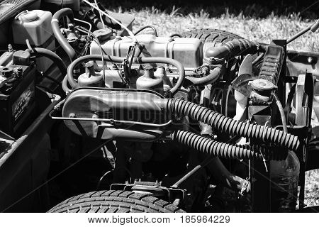 PAAREN IM GLIEN GERMANY - MAY 19: British engine two-seat sports car Triumph Spitfire 1500 (black and white)
