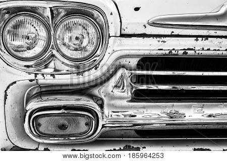 PAAREN IM GLIEN GERMANY - MAY 19: Headlights classic pickup truck Chevrolet Apache 31 (black and white)