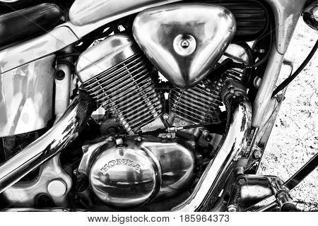 PAAREN IM GLIEN GERMANY - MAY 19: Motor bike Honda VT600 PC21 Chopper Bike (1996) close-up black and white