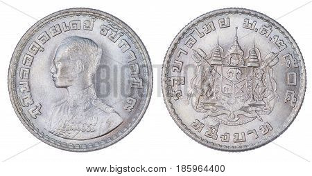 Thailand 1 Baht Coin, (1962 Or B.e. 2505) Isolated On White Background.