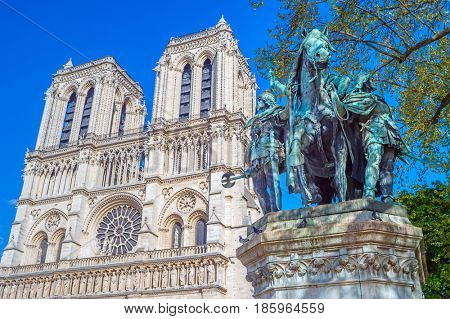Statue of Charlemagne in front of Notre Dame Cathedral, Paris, France.