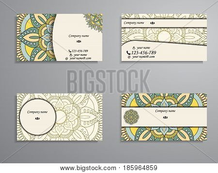 Visiting Card And Business Card Big Set. Floral Mandala Pattern And Ornaments. Oriental Design Layou