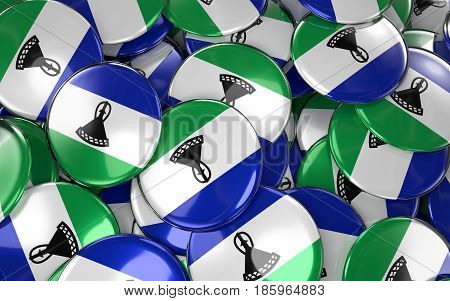 Lesotho Badges Background - Pile Of Lesotho Flag Buttons.