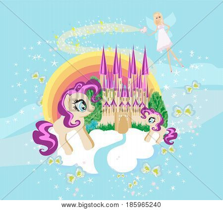 Fairytale frame with castle and unicorns , vector illustration