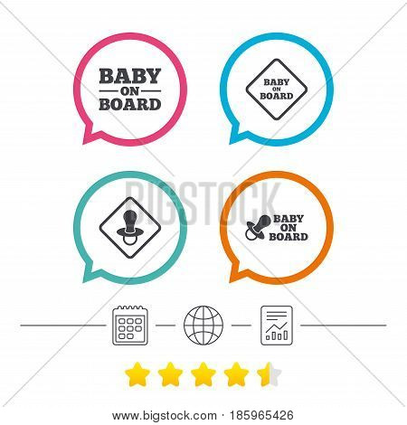 Baby on board icons. Infant caution signs. Nipple pacifier symbol. Calendar, internet globe and report linear icons. Star vote ranking. Vector