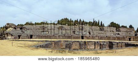 Roman amphitheater in Italica - Roman city near Seville Spain