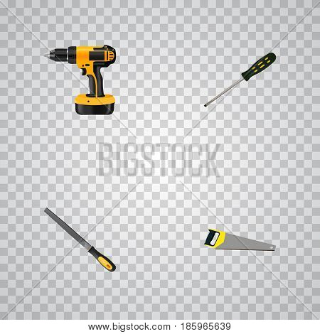 Realistic Hacksaw, Carpenter, Electric Screwdriver And Other Vector Elements. Set Of Construction Realistic Symbols Also Includes Emery, Appliance, Electric Screwdriver Objects.