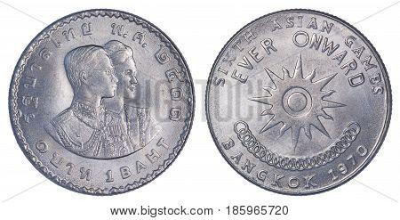 Thailand One Baht Coin Memorial For 6Th Asian Games In Bangkok, Thailand.
