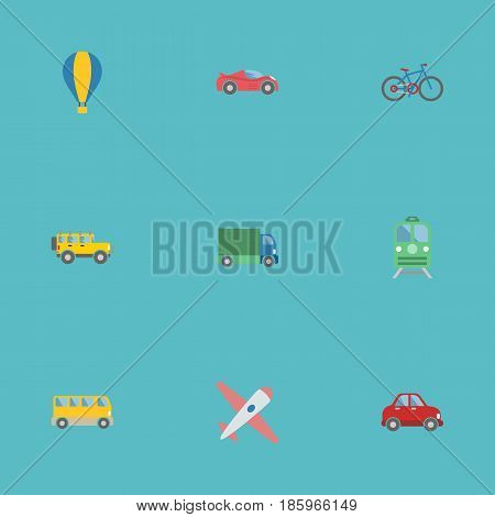 Flat Jeep, Car, Omnibus And Other Vector Elements. Set Of Vehicle Flat Symbols Also Includes Car, Lorry, Bicycle Objects.