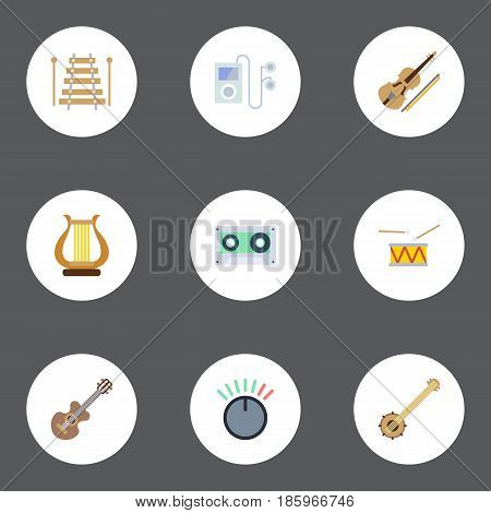 Flat Musical Instrument, Knob, Banjo And Other Vector Elements. Set Of Studio Flat Symbols Also Includes Volume, Fiddle, Banjo Objects.