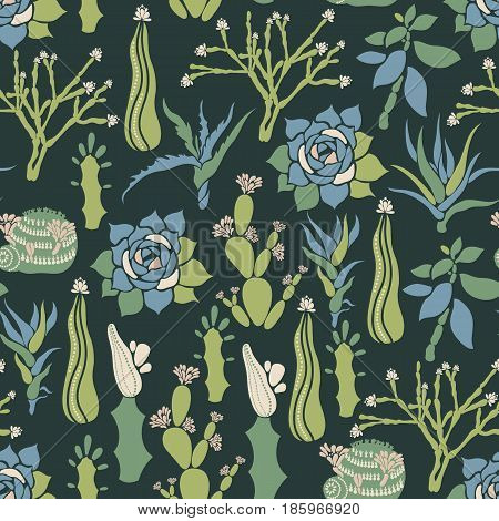 Mammillaria, Sempervivum, Euphorbia, Haworthia, Opuntia, Crassula, Aloe, Hatiora. Seamless pattern with a collection of succulents and cacti. Vector illustration.