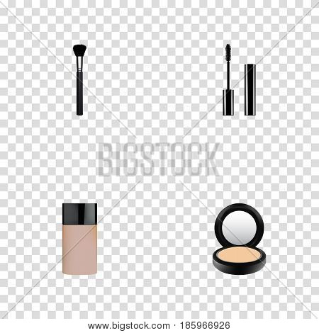 Realistic Eyelashes Ink, Fashion Equipment, Concealer And Other Vector Elements. Set Of Cosmetics Realistic Symbols Also Includes Brush, Blusher, Concealer Objects.