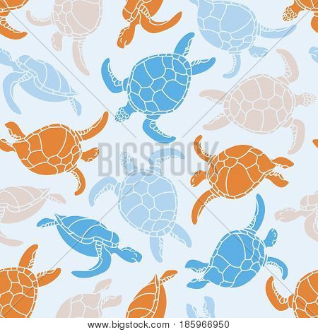 Cheloniidae. Seamless pattern with turtles. Silhouette. Animal world under water. Ocean. Vector illustration.