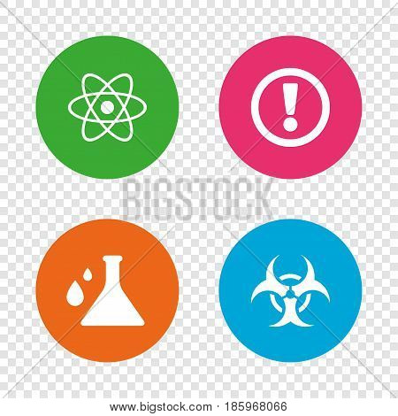 Attention and biohazard icons. Chemistry flask sign. Atom symbol. Round buttons on transparent background. Vector