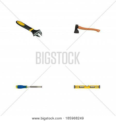 Realistic Plumb Ruler, Wrench, Hatchet And Other Vector Elements. Set Of Tools Realistic Symbols Also Includes Hatchet, Carpenter, Spanner Objects.
