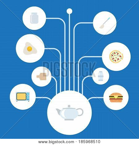 Flat Teapot, Breadboard, Glass Container And Other Vector Elements. Set Of Cooking Flat Symbols Also Includes Fast, Pizza, Food Objects.