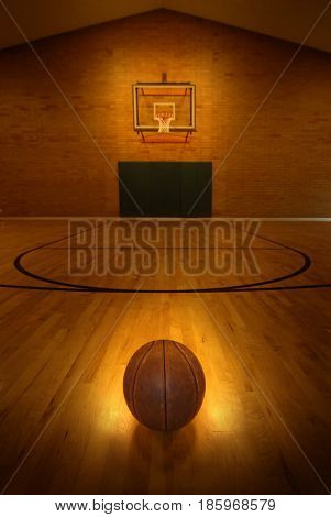 Basketball court and hoop for success and victory