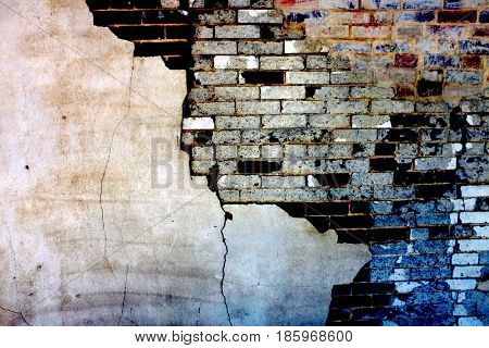 Old Wall with Bricks and Stucco Plaster Falling Apart Texture Crumbling