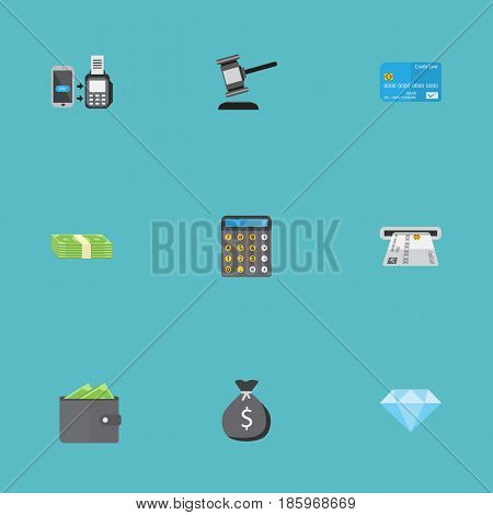 Flat Payment, Remote Paying, Billfold And Other Vector Elements. Set Of Commerce Flat Symbols Also Includes Online, Stack, Sack Objects.