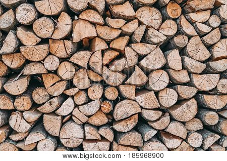 Firewood, Woodpile Near The Texture Of Wood.