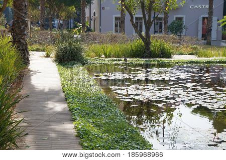 TEL-AVIV, iSRAEL - DECEMBER 26 : Modern open air commercial center and park Sarona, German templer colony in Tel-Aviv, Israel on December 26, 2016