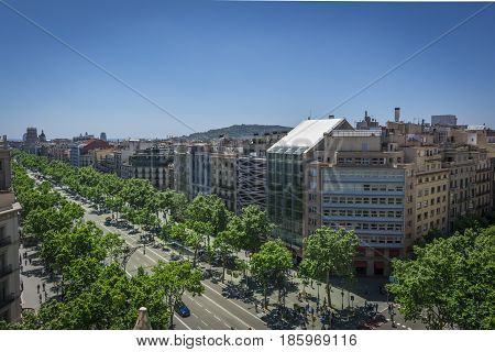 Fisheye photography of Famous street of Passeig de Gracia in Barcelona, Spain. Aerial view of the most luxury street in Barcelona