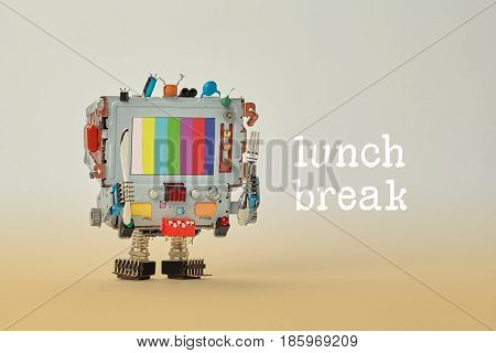 Lunch break concept. Robot chef computer fork and knife in arms. Retro style cyborg monitor face, screen with no signal TV test multicolor pattern background. White green cyan red blue color lines
