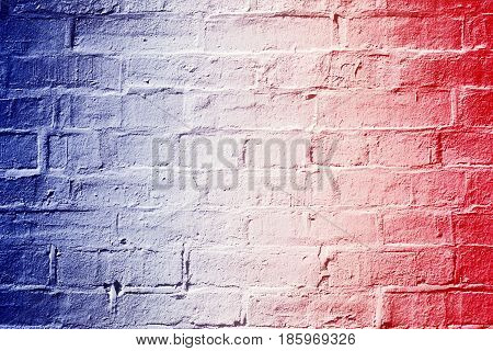 Abstract patriotic red white and blue brick wall background texture for celebrations, voting, memorial, labor day and elections