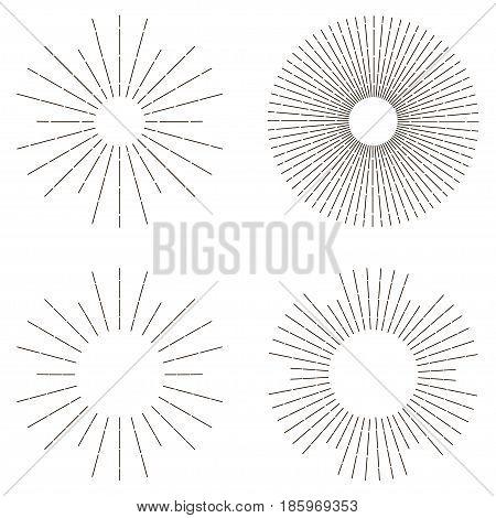 Sunburst set Sunshine element Light rays radial sunbeam decoration Vector illustration
