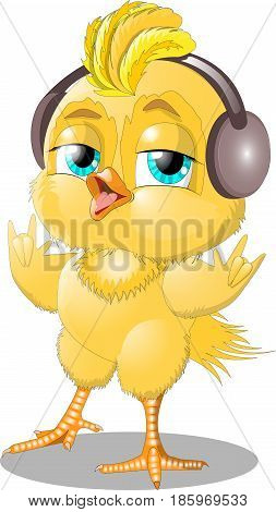 Chick with headphones shows the gesture of the rockers.