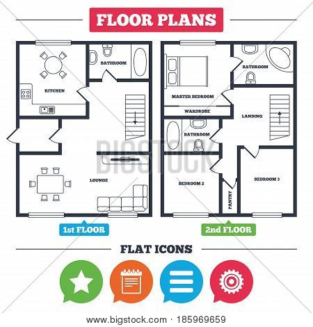 Architecture plan with furniture. House floor plan. Star favorite and menu list icons. Notepad and cogwheel gear sign symbols. Kitchen, lounge and bathroom. Vector
