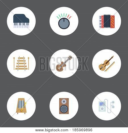 Flat Mp3 Player, Octave Keyboard, Rhythm Motion And Other Vector Elements. Set Of Melody Flat Symbols Also Includes Musical, Box, Mp3 Objects.