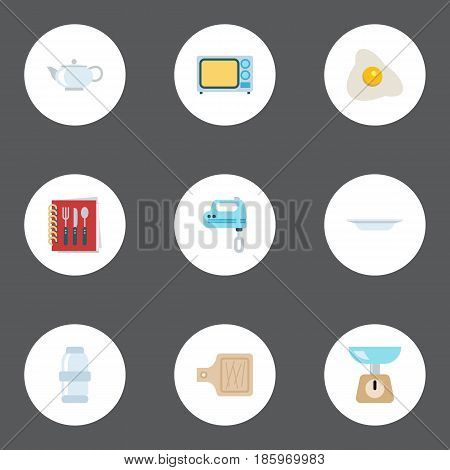 Flat Cooking Notebook, Kitchen Measurement, Teapot And Other Vector Elements. Set Of Food Flat Symbols Also Includes Breadboard, Spice, Weight Objects.