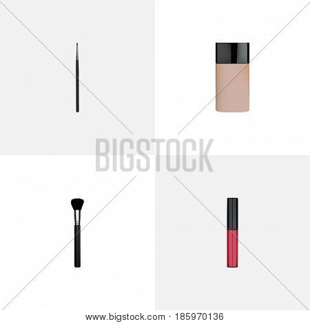 Realistic Liquid Lipstick, Concealer, Fashion Equipment And Other Vector Elements. Set Of Maquillage Realistic Symbols Also Includes Lipstick, Pomade, Liquid Objects.