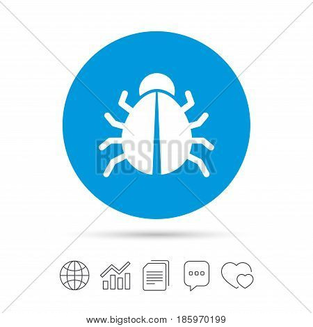 Bug sign icon. Virus symbol. Software bug error. Disinfection. Copy files, chat speech bubble and chart web icons. Vector