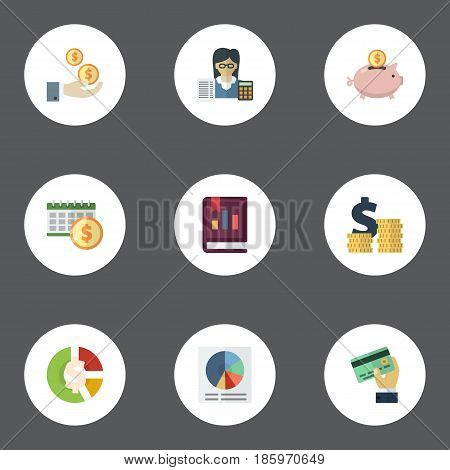 Flat Pie Bar, Stock, Card And Other Vector Elements. Set Of Registration Flat Symbols Also Includes Book, Circle, Accountant Objects.