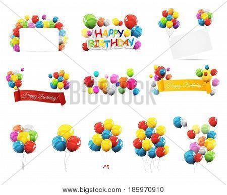 Color Glossy Balloons Mega Set Vector Illustration EPS10