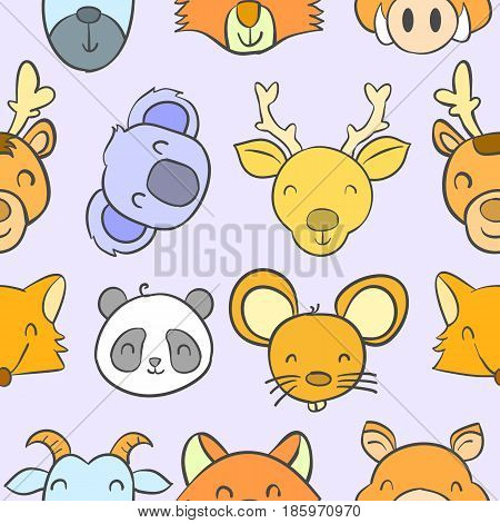 Collection stock animal funny doodles vector art