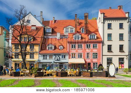 RIGA LATVIA - MAY 06 2017: Architecture of old town of Riga. Riga is the capital and the largest city of Latvia widely known due to its unique medieval and Gothic architecture.