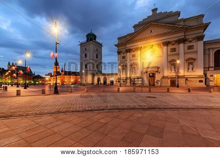 Center of Warsaw Poland Europe in the morning.