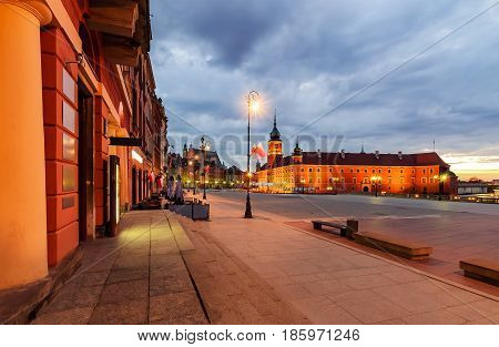 Castle square in the morning. Warsaw Poland Europe