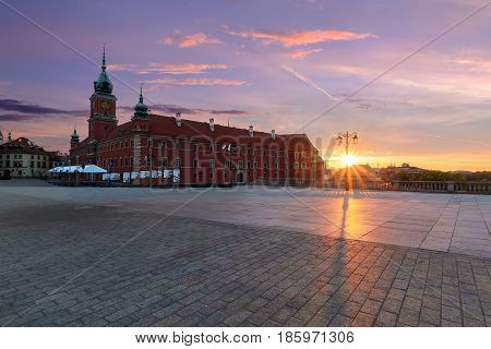 Royal castle in old town of Warsaw Poland Europe in the morning.
