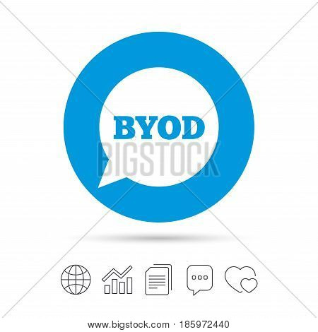 BYOD sign icon. Bring your own device symbol. Speech bubble sign. Copy files, chat speech bubble and chart web icons. Vector